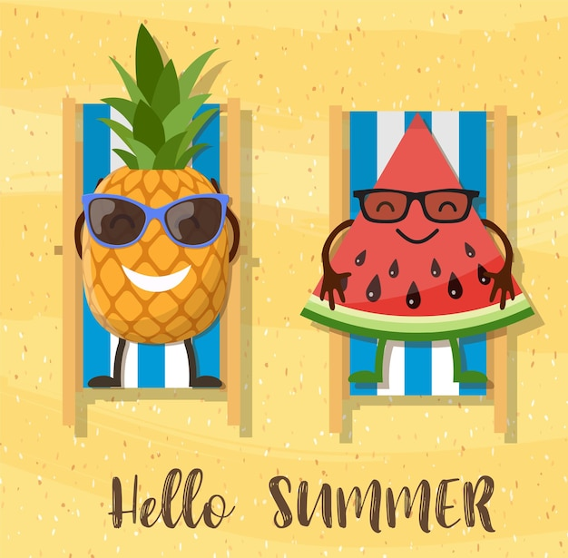 Wassermelonen und ananas-cartoon-figur am strand.