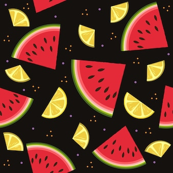Wassermelonen- und zitronenmuster auf schwarzem hintergrund, farbvektorillustration