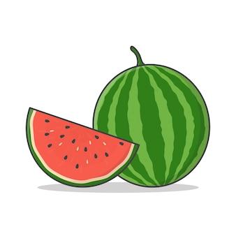 Wassermelonen-vektor lokalisiert auf weiß