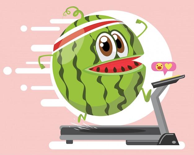 Wassermelonencharaktersport-marathontraining