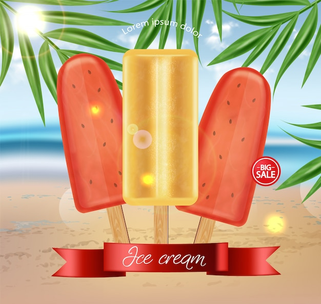 Wassermeloneneis-verkaufsfahne
