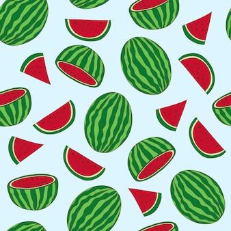 Wassermelonenfrucht-muster-hand gezeichnet