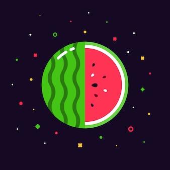 Wassermelonenfruchtkugel mit halber scheibenlogo, flaches entwurfsschablonenkonzept