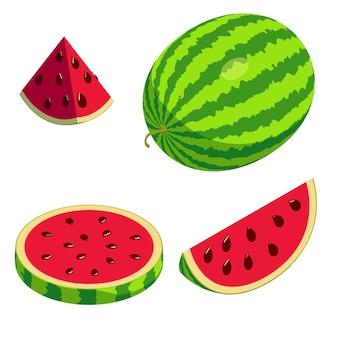 Wassermelonenikonen gesetzt, isometrischer stil