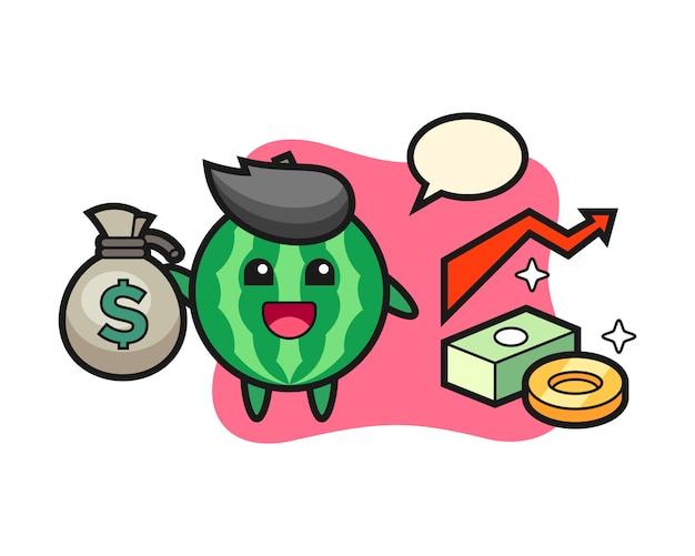 Wassermelonenillustrationskarikatur, die geldsack hält
