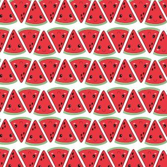 Wassermelonenmuster im handzeichnungsstil