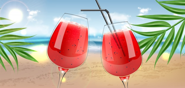 Wassermelonensaft in gläsern