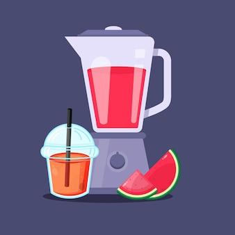 Wassermelonensaft mit plastikbecherverpackung mixer-symbol
