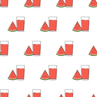 Wassermelonensaft nahtloses muster auf einem weißen hintergrund. wassermelonen-thema-vektor-illustration