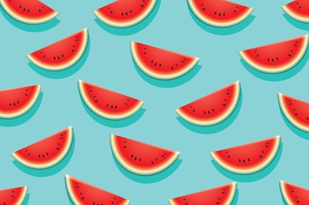 Wassermelonenscheibe auf blauem hintergrund