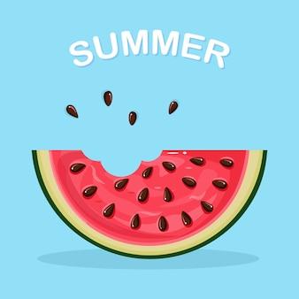 Wassermelonenscheibe mit schale und samen. sommerfrucht für vegetarische ernährung, gesunde lebensweise
