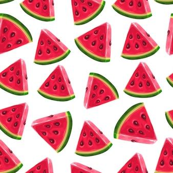 Wassermelonenscheiben, nahtloses muster. sommer wassermelone hintergrund.