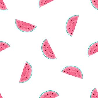 Wassermelonenscheiben. sommer nahtloses muster. wird für designoberflächen, stoffe, textilien, verpackungspapier und tapeten verwendet