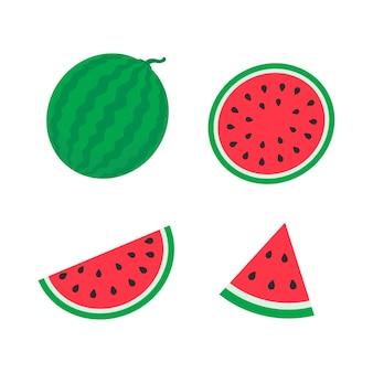 Wassermelonenvektor in stücke geschnitten mit samen im inneren