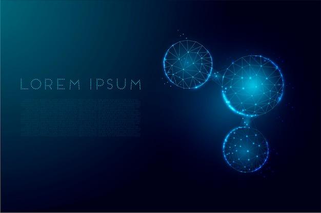 Wassermolekül abstrakter hintergrund. wireframe-low-poly-stil. wissenschaft, biotechnologie, chemie, medizinisches konzept. auf dunkelblauem hintergrund isoliert. vektor-illustration.