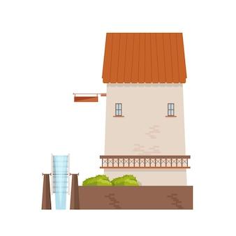 Wassermühle mit backsteinmauern und rad isoliert