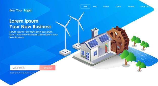 Wassermühle und windmühle für sonnenkollektoren