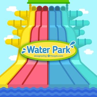 Wasserpark in flaches design