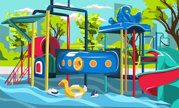 Wasserpark spielplatz splash pool für kinder mit tunneln und rutschen