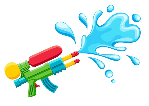 Wasserpistolenillustration. plastiksommerspielzeug. bunt für kinder. pistole mit wasserspritzer. illustration auf weißem hintergrund