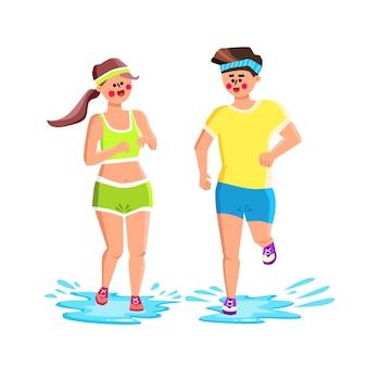 Wasserschuhe tragen sportler für den laufenden vektor. junger mann und frau tragen wasserdichte schuhe und laufen zusammen auf pfützen mit spritzer. charaktere sport aktive zeit flache cartoon illustration