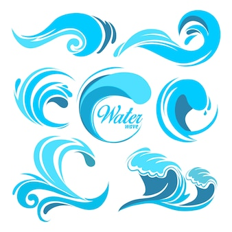 Wasserspritzer und meereswellen. grafiksymbole für logo. wellenwasser-seewirbel, sammlung der natur, wasserwellenillustration