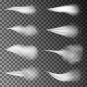 Wassersprühstrahl, weißer rauch oder nebel, staub und punkte, nebel des zerstäubers. effekt mit sprüh- oder strahldüsen, kosmetisches design. elemente 3d.