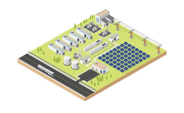 Wasserstoff-mikronetz mit solarzelle im isometrischen stil