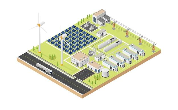 Wasserstoff-mikronetz mit windkraftanlage und solarzelle in isometrischer grafik