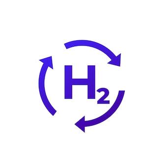 Wasserstoffenergie, h2-vektorsymbol mit pfeilen
