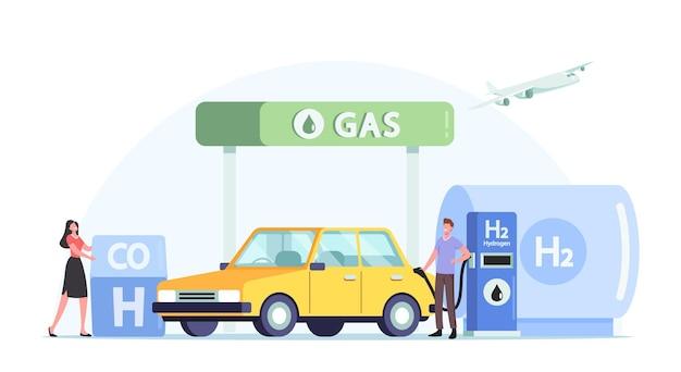 Wasserstofftankservice für fahrzeuge, grüne energie, biodiesel. fahrercharaktere, die auto auf stationskonzept tanken. mann pumpt h2-benzin zum aufladen von auto, cartoon-leute-vektor-illustration