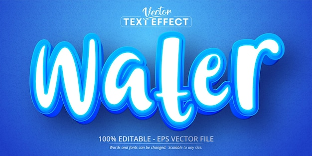 Wassertext, bearbeitbarer texteffekt im cartoon-stil
