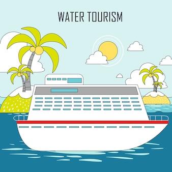 Wassertourismuskonzept: kreuzfahrt und insel im linienstil