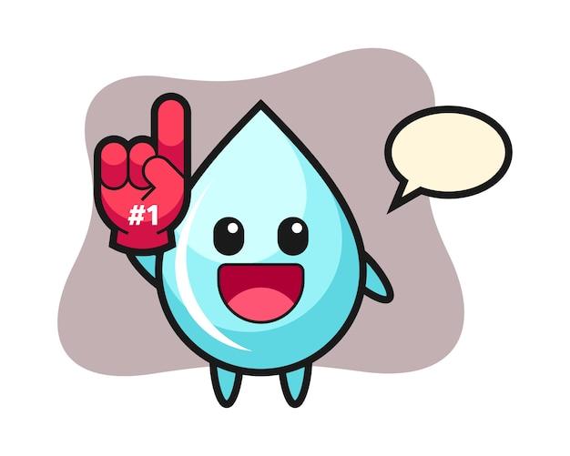 Wassertropfen-illustrationskarikatur mit handschuh der fans der nummer 1, niedlicher stilentwurf für t-shirt