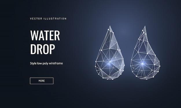 Wassertropfen im polygonalen drahtmodellstil