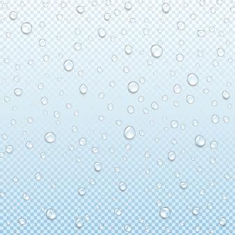 Wassertropfen isoliert transparenter blauer hintergrund mit farbverlaufsnetz, illustration