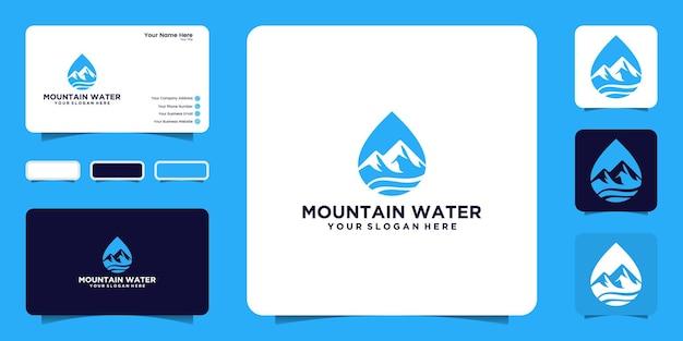 Wassertropfen logo design inspiration meereswellen und natürliche berge mit visitenkarten