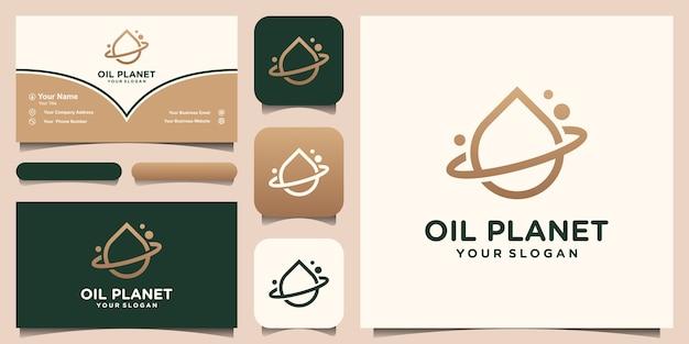 Wassertropfen-logo-design kombiniert mit einem planetenring. öl oliven planet. satz logo und visitenkarten-design