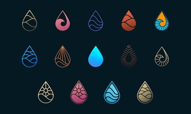 Wassertropfen-logo-design-set, perfekt für logo-vorlagen