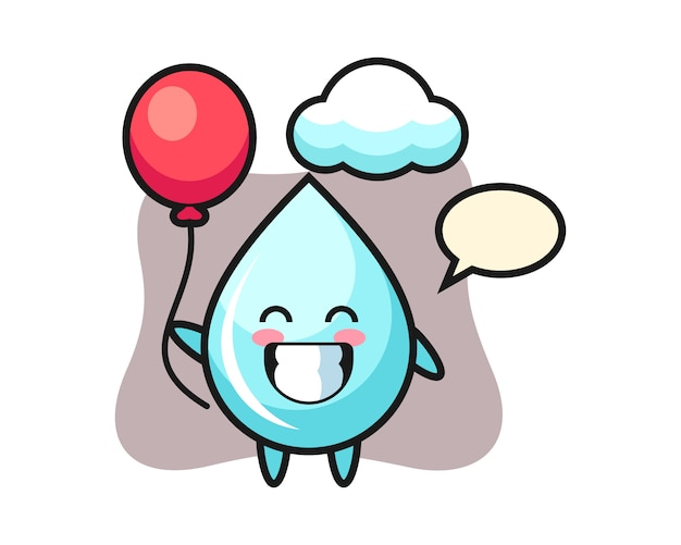 Wassertropfen maskottchen illustration spielt ballon, niedlichen stil design für t-shirt