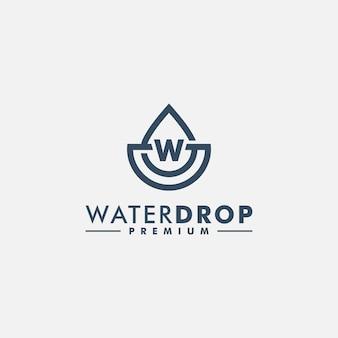 Wassertropfen mit buchstaben w logo vorlage
