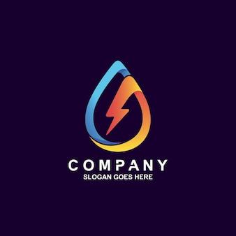 Wassertropfen mit donner-logo-design