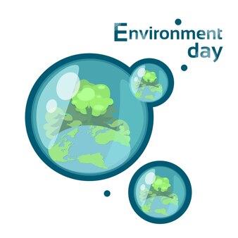 Wassertropfen mit earth globe forest weltumwelttag