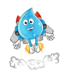 Wassertropfen mit jetpack-maskottchen