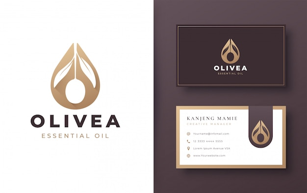 Wassertropfen / olivenöl-logo und visitenkartenentwurf