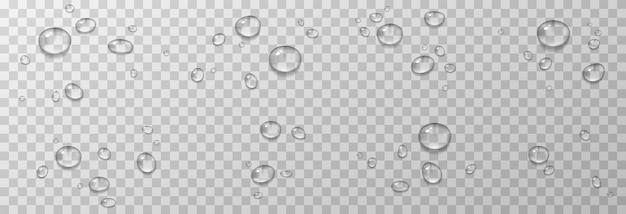 Wassertropfen. tropfen, kondensation an der oberfläche. realistische tropfen auf transparent.