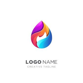 Wassertropfen und feuer-logo
