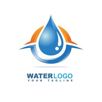 Wassertropfen-vektor-logo mit blatt und hand