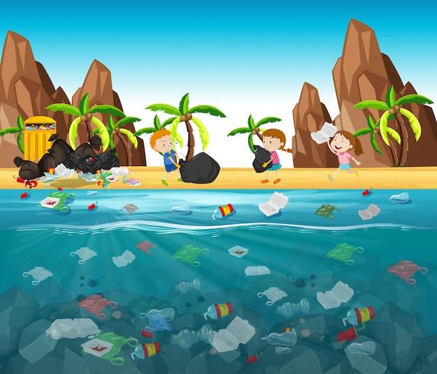 Wasserverschmutzung mit plastiktüten im ozean