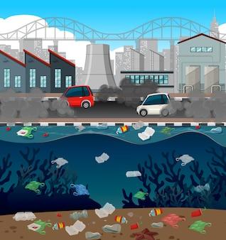 Wasserverschmutzung mit plastiktüten in der stadt